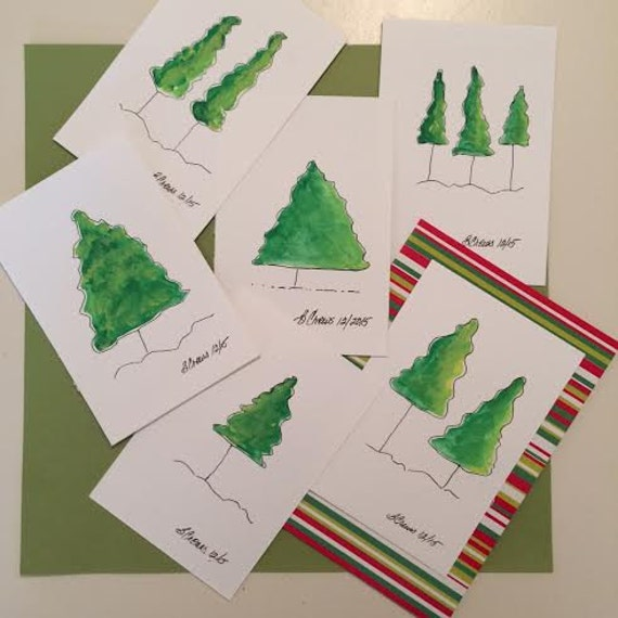 Holiday Cards Set of 4, Hand Painted Cards, PaintATreeADay ART, Christmas Cards, Christmas Art,  by BeckyPaints