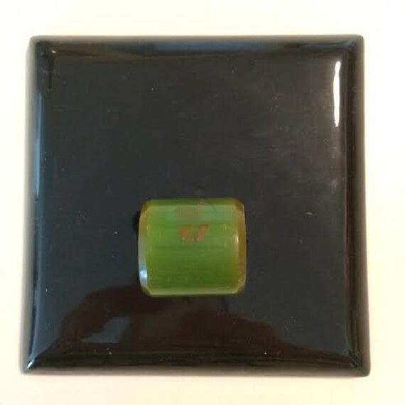 Beautiful Vintage Art Deco 1920s 4 Inch Black Glass Tile Blotter with Big Jade Knob and Blue Blotter Paper on Back Curated by BeckyPaints