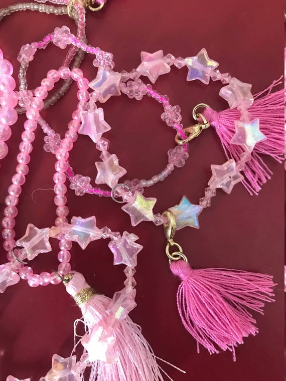 Little Girls Stretch Pink Bracelets, Pink Pearls, Iridescent Stars or Flowers, Double Seed Beads, Detachable Tassels by BeckyPaints