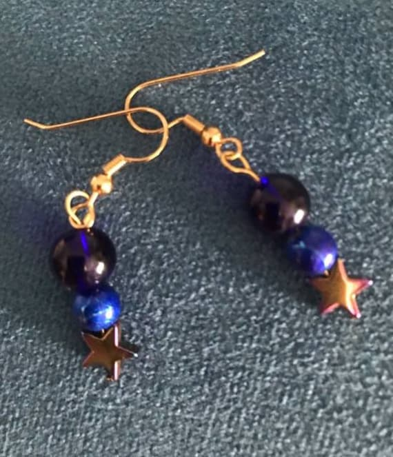 Blue Beaded Dangle Earrings on Gold Earring Hook Findings Handcrafted by BeckyPaints