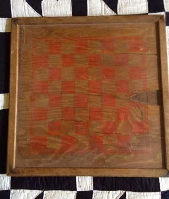 Vintage Collectible Wooden Painted Primitive Mid Century Game Board Checkers and Chinese Checkers Curated by BeckyPaints