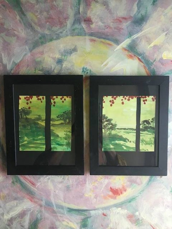 Chinoiserie Acrycli Paintings, Series of 2, PaintATreeADay ART, Recycled Frames, Small Tree Paintings by BeckyPaints
