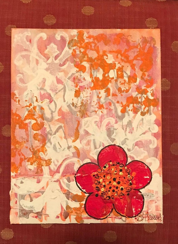 Playfull Stencil w Faux Finishing Techniques Create Background for Pop Art Flowers, Table Top Art for easels, Small Art by BeckyPaints