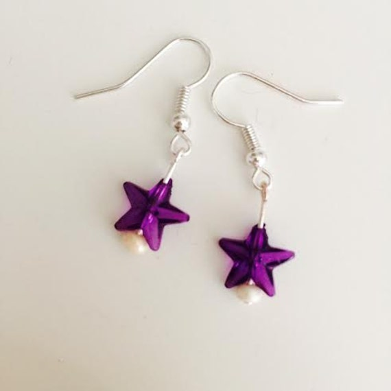 Holiday Beautiful Purple Tiny Star Dangle Earrings w Seed Pearl Beads on Silver Earring Hooks by BeckyPaints