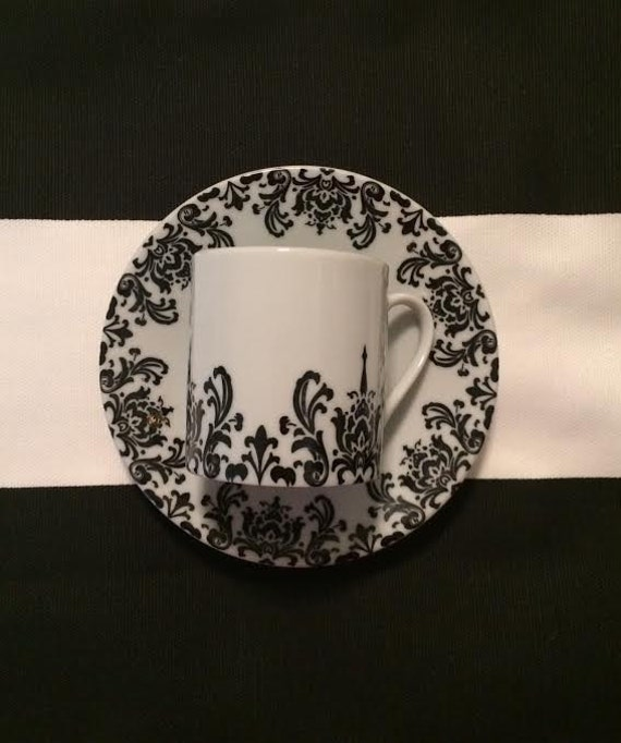 Vintage Black Coffee Lovers Pretty Black n White Cappuccino Cup and Saucer Curated by BeckyPaints