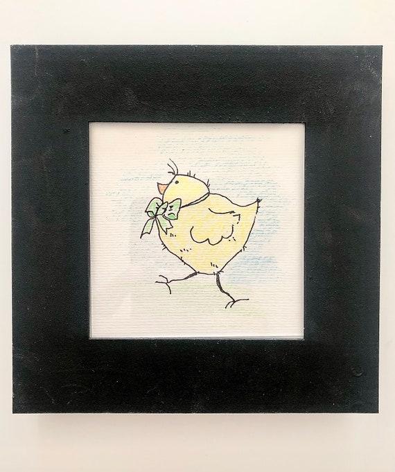 Whimsical Framed Art - Pen n Ink Drawing Framed - Chicken Framed Art - Handmade by BeckyPaints