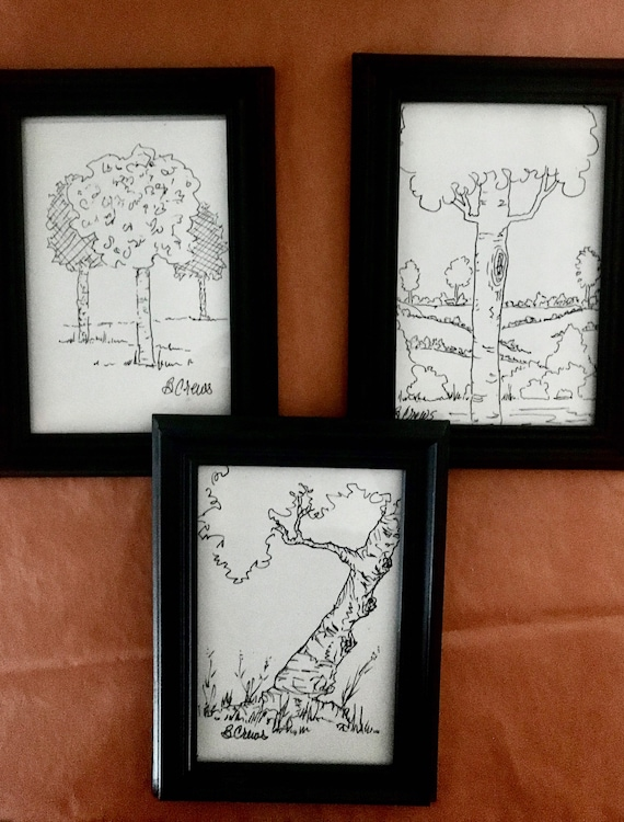 Pen n Ink PaintATreeADay ART, Framed 4x6 Drawings, ea 10.50 FREE SHIP by BeckyPaints