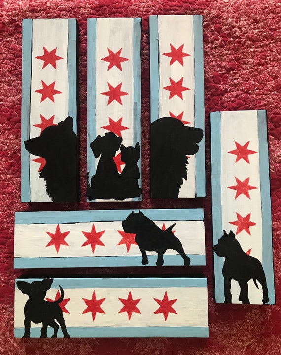 Custom Dog Silhouette n Chicago Flag Paintings on RePurposed Frames n Canvases, Skinny Canvas, Photo Frame,Square Canvas