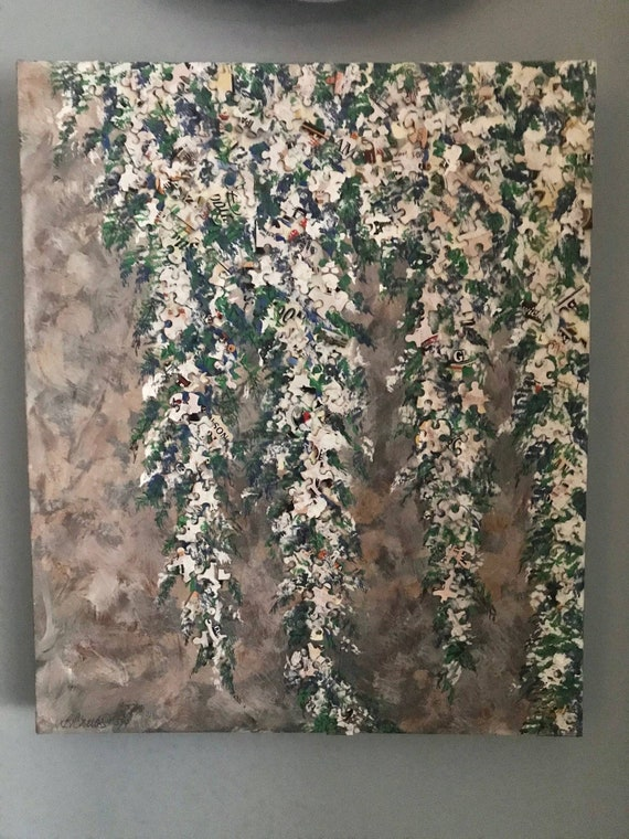 "Wisteria Fix, Acrylic Painting, JigSaw Puzzle Texture on Original ART, 19x15 1/2"", Recycled Painted Canvas, Painted by BeckyPaints"