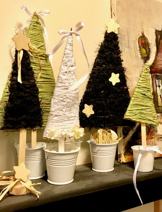 Wedding and Seasonal Handmade Rustic Decorative Trees Standing in lil White Buckets  or Recycled Cups by BeckyPaints