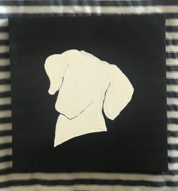 Pet Paintings Eight Inch Square Canvas w Acrylic Black and White Silhouette of Dog Breeds Painted By BeckyPaints