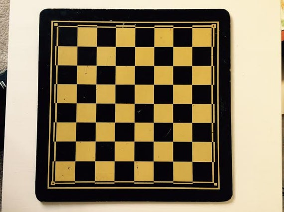 Vintage Marked Collectible Bakelite Game Board Checker/Backgammon Soft Yellow n Black w Red on Backgammon Side Curated by BeckyPaints