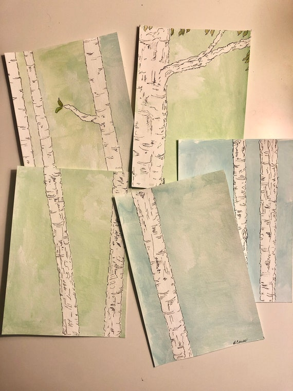 Water Color Art  |   PaintATreeADay ART by BeckyPaints  |  Series of 5 Watercolors  |  Green and Blue ART on Paper  |  ART on Paper