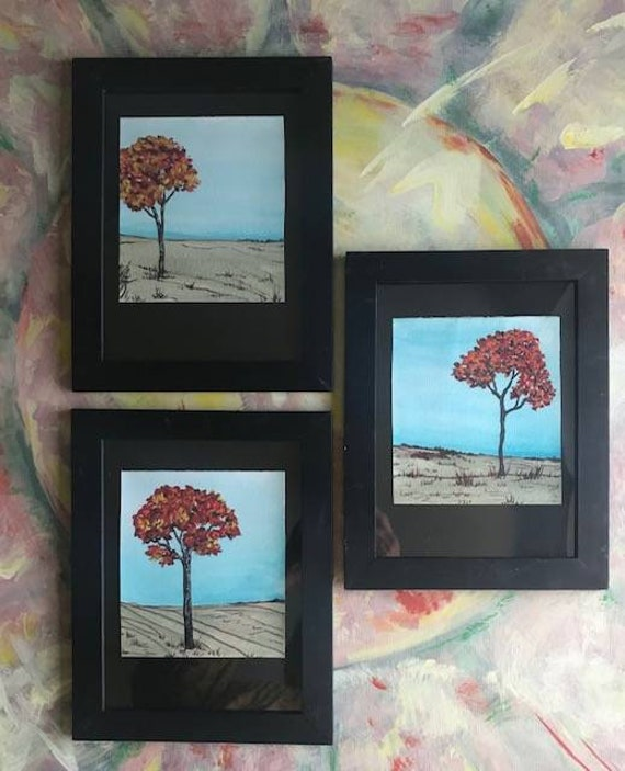 Acrylic Painting Framed, PaintATreeADay ART, Three in a Series, Free Shipping, Sold Spearatedly By BeckyPaints