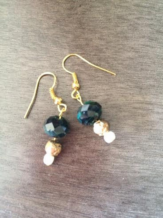 Beautiful Black Faceted Beads and Gold Etched Beads and Tiny White Pearls on Gold Earring Hooks by BeckyPaints