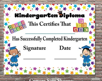 Kindergarten Diploma, Kindergarten Certificate, DIGITAL, YOU PRINT, Kindergarten Graduation, Teacher Certificates, Teacher Supplies