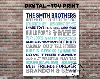 cdc0cbba7c8a9 Boys Room Decor, Brothers Sign, Brothers Wall Art, Brothers Room Decor,  DIGITAL YOU PRINT, Custom Brothers Art, Personalized Brothers Art
