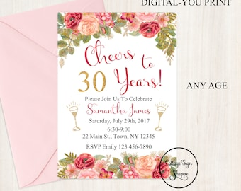 Floral Birthday Invitation, Floral and Gold Invitation, DIGITAL, YOU PRINT, Rose Gold Invitation, Adult Invitations, 30,40,50, 60 Invitation