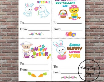 Kids Easter Cards, Childrens Easter Cards, DIGITAL, YOU PRINT, Easter Cards For Kids, Classroom Easter Cards, Boys and Girls Easter Cards