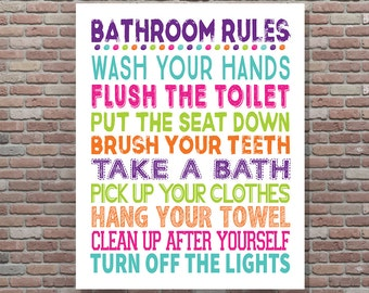 Bathroom Rules, Girls Bathroom Rules, Girls Bathroom Decor, DIGITAL, YOU PRINT, Sisters Bathroom Wall Art, Sisters Bathroom Decor