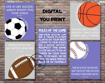 512c22bc7e4 Motivational Sports Quotes, Motivating Sports Set, DIGITAL, YOU PRINT,Girls  Sports Decor, Sports Playroom Decor, Sports Poster, Sports Quote