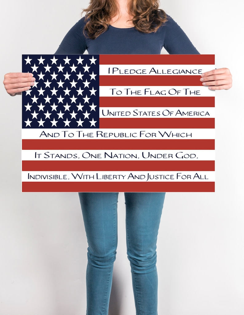 graphic about Pledge of Allegiance in Spanish Printable titled Pledge Of Allegiance, Patriotic Flag Artwork, Flag Artwork, Electronic, Oneself PRINT, Pledge of Allegiance Flag Artwork, Homeschool Flag, Printable Flag