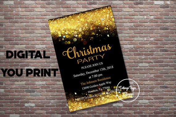christmas party invitation christmas party evite digital etsy