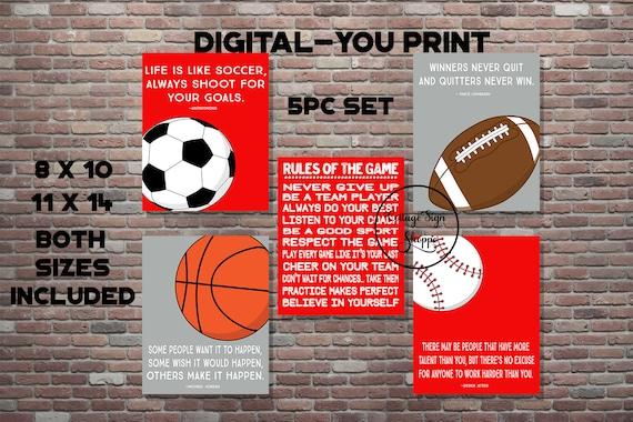 Sports Quotes Motivational Sports Art Digital You Print Boys Sports Decor Sports Playroom Decor Sports Poster Famous Sports Quotes