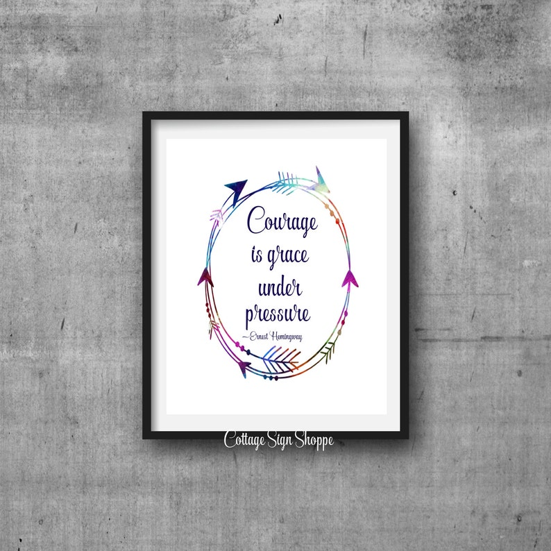 Courage Is Grace Under Pressure Inspirational Quotes Instant Etsy
