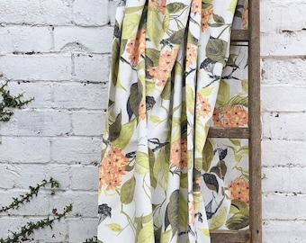 Botanical Barkcloth Fabric - Vintage 1950s - Green Orange Vintage Cotton Bark Cloth Fabric - Retro Fabric - Midcentury Homewares