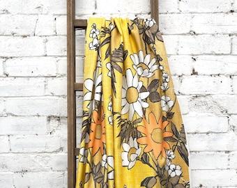 Rare Vintage Floral Fibreglass Fabric - Vintage 1950s - Orange Yellow Brown Bold Floral Vintage Fibreglass Cloth Fabric - Midcentury Curtain