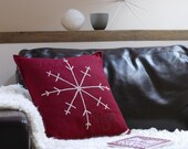 SALE: Snowflake Hand Embroidered Red Wool Cushion