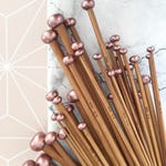 Rose Gold Gift Set, Set of 18 Carbonised Bamboo Knitting Needles, Rose Gold Decorative Finish, Stylish Knitting Needles, Yarn Lover Gift