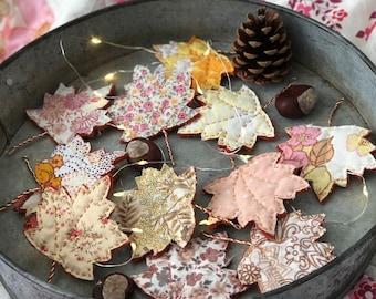 Autumn Garland, Fall craft project, Autumn Decor Craft Kit, Leaf Bunting, LED fairy lights, Halloween Decoration DIY, Samhain Altar