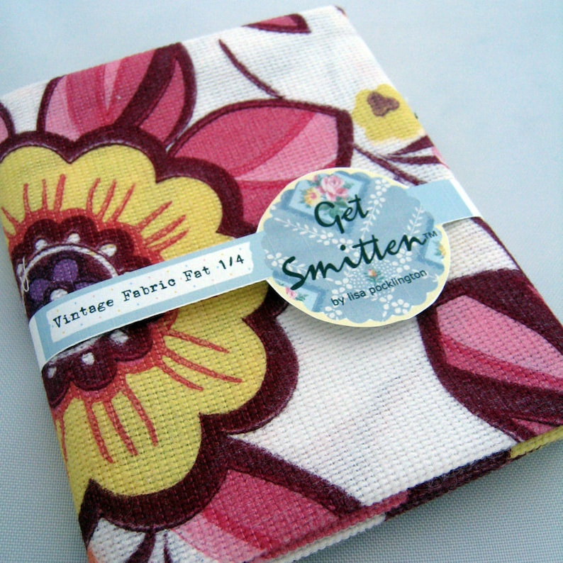 Bright Funky Retro Floral Vintage Fabric Fat Quarter image 0