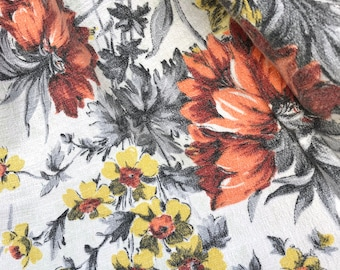 Floral Barkcloth Fabric - Vintage 1950s - Orange Yellow Grey Pretty Floral Vintage Cotton Bark Cloth Fabric - Retro Flowers - Midcentury