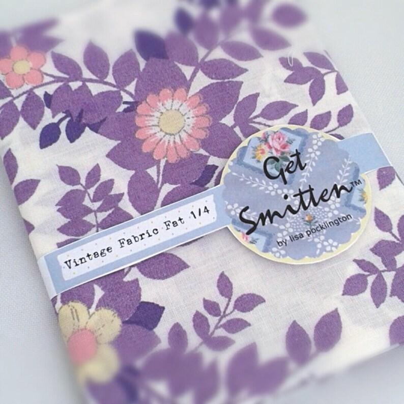 Purple and Lilac Botanical Leaf English Vintage Fabric Fat image 0