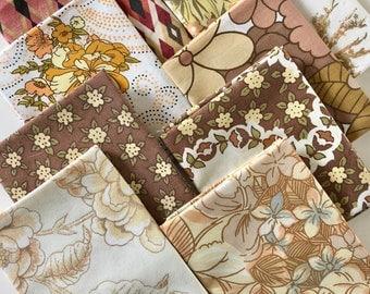 Autumn Colours Vintage Fabric - Vintage Fat Quarter Bundle - Vintage Fabric Bundle - Autumn Fall Fabric Collection - Retro Floral Fabric