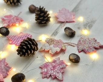 Autumn Leaf Garland, DIY craft project, Autumn Decor Craft Kit, Leaf Bunting, LED fairy lights, Breast Cancer Awareness, SU2C
