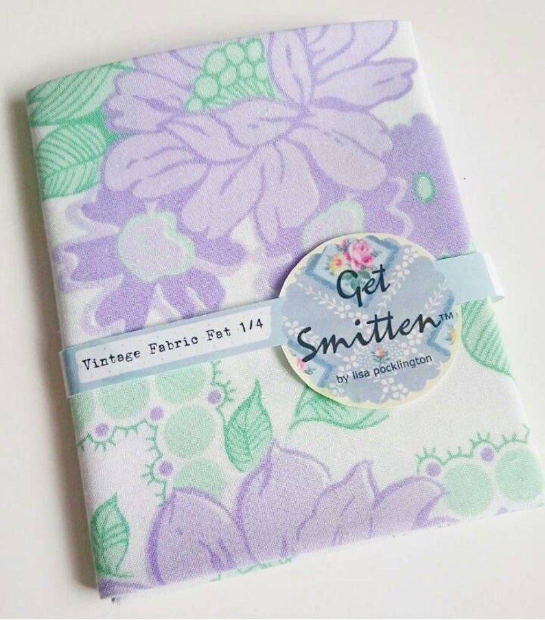Lilac Purple and Green Bold Floral With Dotty Trellis 1980s image 0