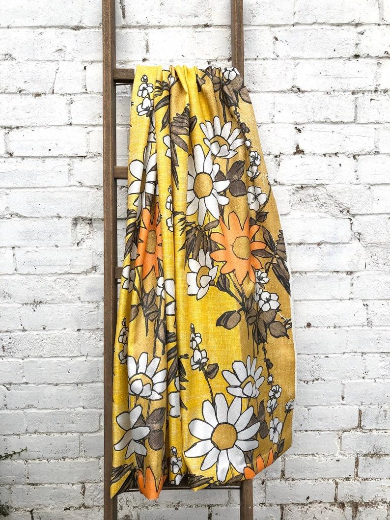 Rare Vintage Floral Fibreglass Fabric  Vintage 1950s  Orange image 0