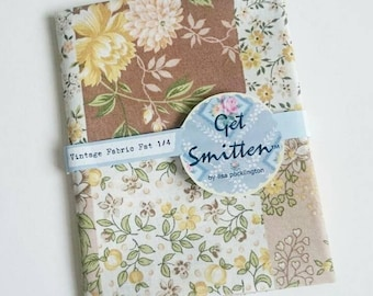 Green, Mustard, Chocolate & Blush Pink Pretty Floral Printed Patchwork Squares English Vintage Sheeting Fabric Fat Quarter