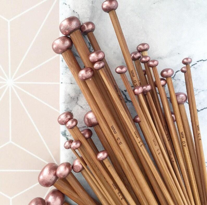 Rose Gold Gift Set Set of 18 Carbonised Bamboo Knitting image 0