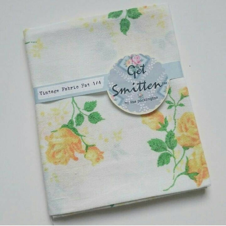 Yellow Floral Sprig English Rose Vintage Fabric Fat Quarter image 0