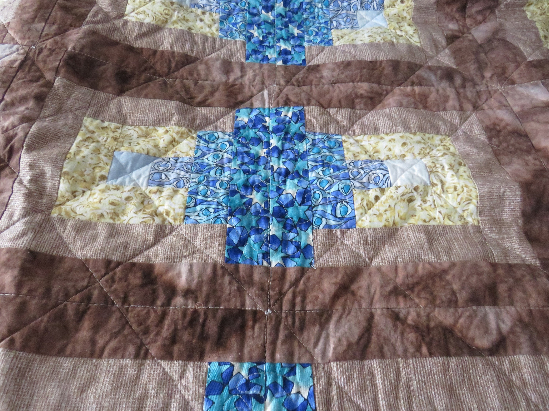 Patchwork Log Cabin - Rectangulaire - Bleu, Brun, Jaune - Fit King Size Bed