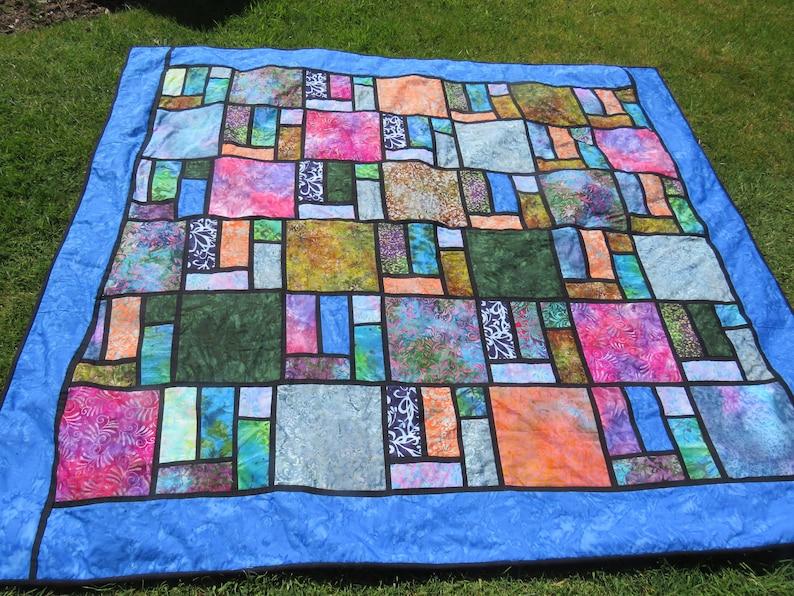 Stained Glass Batik Large Quilt Pattern Digital  Easier image 0