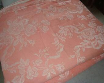 Vintage mattress ticking - rose design from 50s France