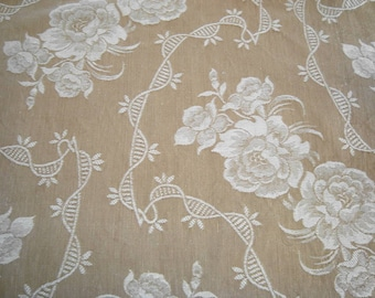 Large piece of vintage damask ticking from 50s France