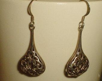 Sterling silver earrings - vintage cutout dangle teardrop French hooks dangly