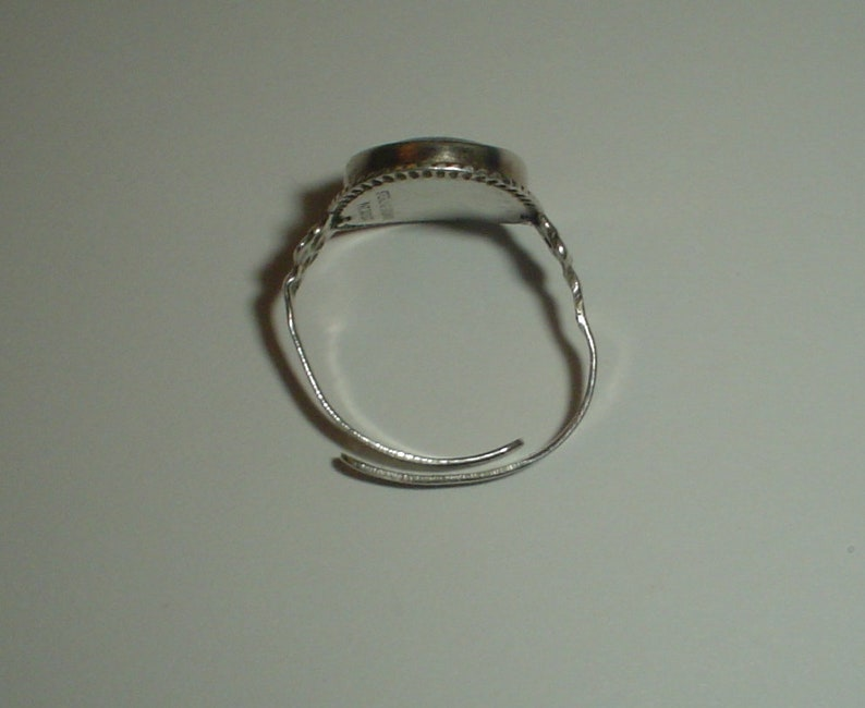 Silver ring sterling butterfly wing Deco vintage size 8 UK Q